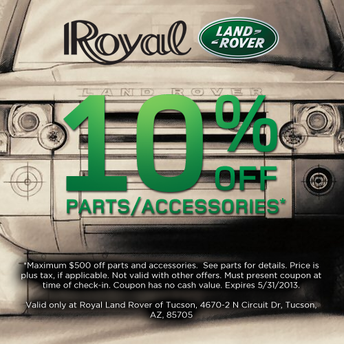 10 percent off parts and accessories at Royal Land Rover of 